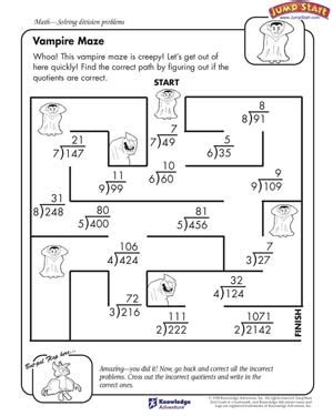 vire maze free division worksheet for kids tucker s
