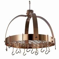 copper pot rack Old Dutch Old Dutch 20 in. x 15.25 in. x 21 in. Dome Satin Copper Pot Rack with Grid and 16 ...
