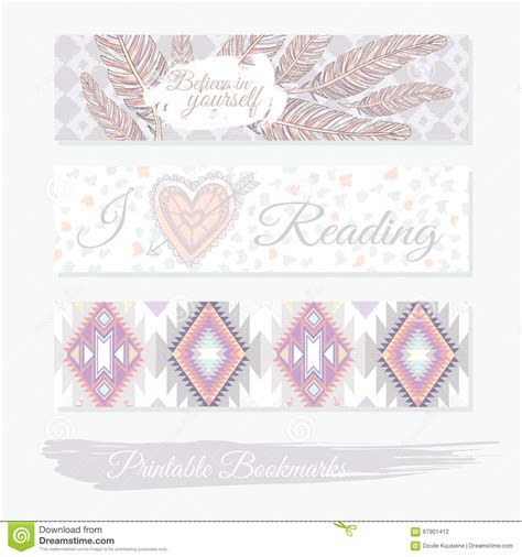 printable bookmarks  feathers aztec pattern  heart