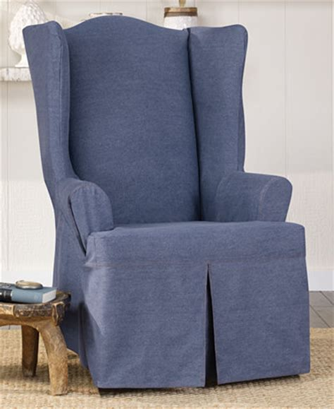 denim chair covers sure fit authentic denim wing chair slipcover slipcovers 3152
