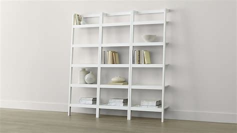 """Sawyer White Leaning 245"""" Bookcases Set Of Three Crate"""