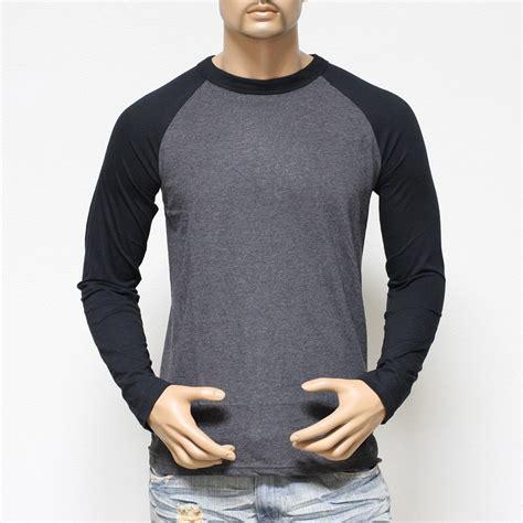 Plain Long Sleeve Baseball T-shirts For Men Jersey Vintage ...