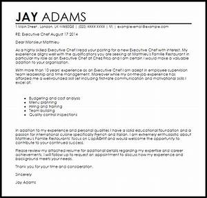executive chef cover letter sample livecareer With cover letter for a cook position