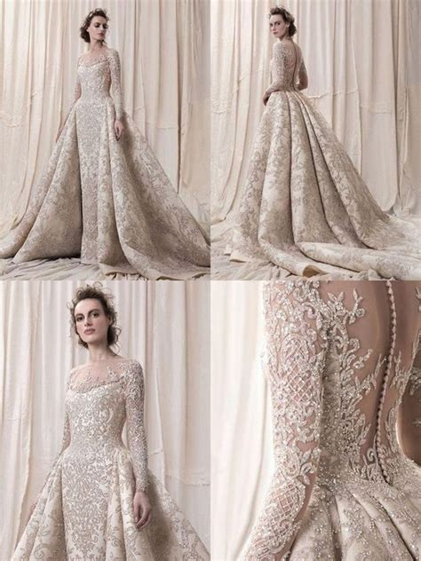 champaign gold wedding dress eslieb luxurious lace wedding