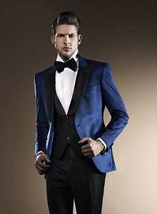 Blue Wedding Suits For Men Black Peaked Lapel Grooms