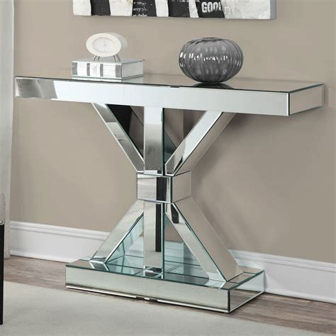 mirror console table mirrored console table w x base by coaster furniture