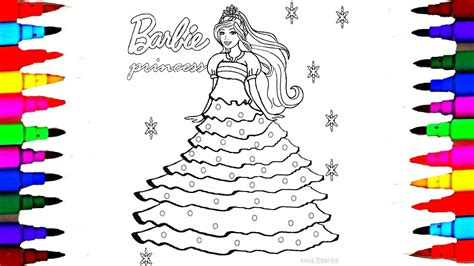 How To Draw Barbie Princess Dress L Barbie Coloring Pages