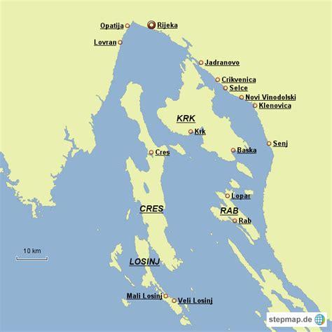 karte kvarner bucht von ihs landkarte fuer kroatien