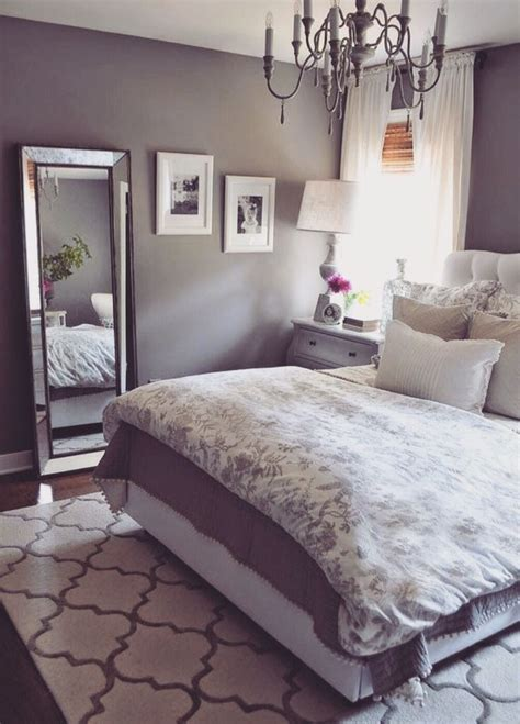grey bedroom soft soothing purple tint home
