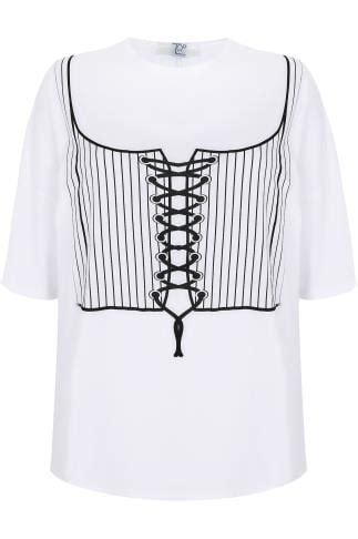 limited collection white corset print  shirt  lace