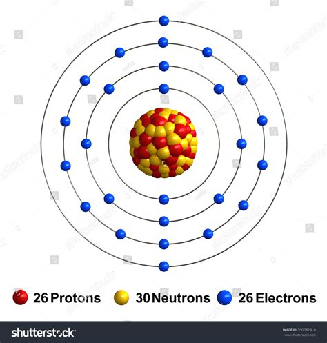 Iron Protons Neutrons Electrons by 3d Render Atom Structure Iron Isolated Stock Illustration