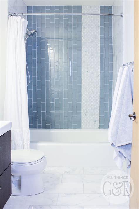 Marble and Glass Tile Bathroom Makeover   All Things G&D