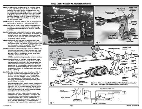 Th400 Kickdown Switch Wiring Diagram by Lokar Electric Kickdown Kit Th400 User Manual Page 2 2