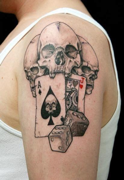 skull dice card ace tattoo  skin deep art tatuajes