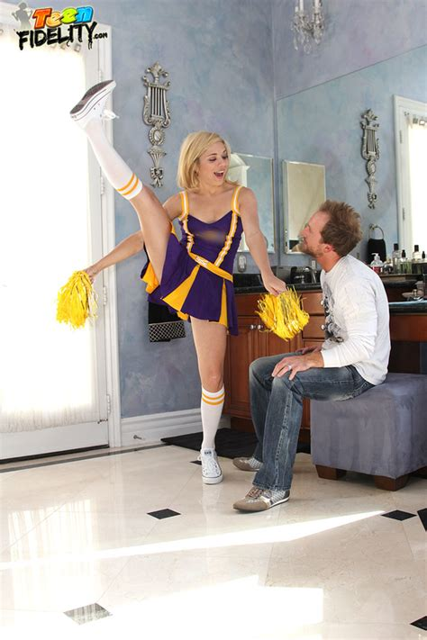 Teen Blonde Cheerleader Makes A Married Man Horny As She Performs Some Routines In Front Of Him