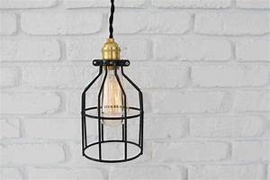 Open cage pendant light in black