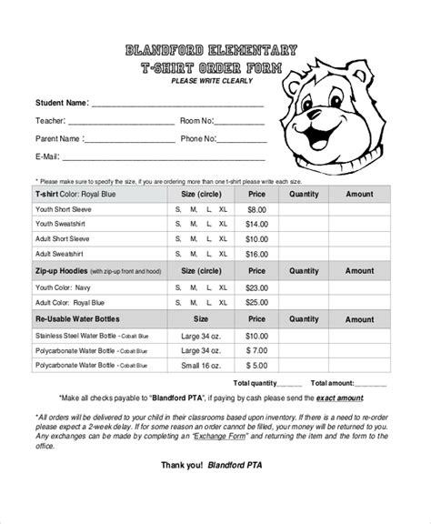 sample  shirt order forms