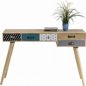 Kare Design De Online Shop : skrivebord capri i tr med 5 skuffer med farver og mnstre ~ Bigdaddyawards.com Haus und Dekorationen
