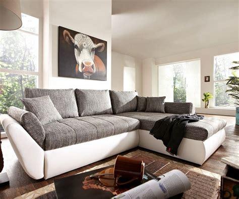Couch Loana Weiss Grau 275x185 Cm Schlaffunktion Ottomane
