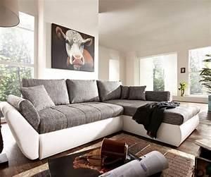 Graues Sofa Kombinieren : couch loana weiss grau 275x185 cm schlaffunktion ottomane ~ Michelbontemps.com Haus und Dekorationen