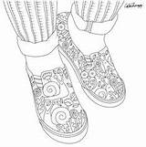 Coloring Shoes Pages Books Sneakers Cool Adult Colouring sketch template