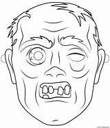 Zombie Coloring Halloween Mask Outline Printable Masks Prints Crafts Characters Categories sketch template