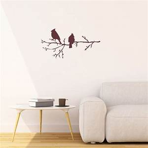 Winter birds on branch vinyl wall stickers for modern