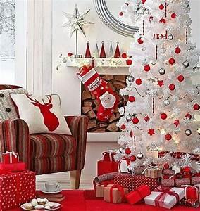 deco en rouge et blanc combinaison classique pour noel With salle de bain design avec sapin blanc artificiel décoré