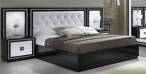 lit adulte design laque blanc et noir appoline With chambre adulte noir et blanc