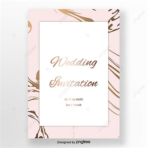 pink simple rose gold marble wedding invitation letter