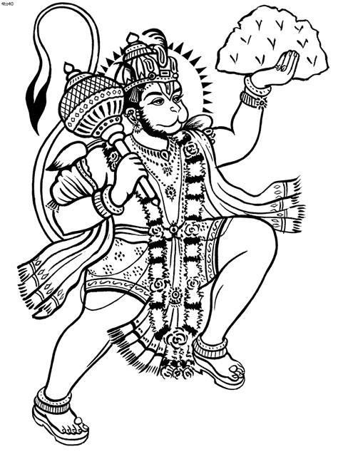 Kathakali Outline Hanuman coloring book hanuman | kerala mural in 2019 | Hanuman tattoo, Lord