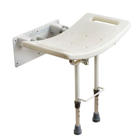 Wall Mounted Folding Shower Seat With Legs - wall mounted folding shower seat chair with fold up drop