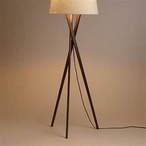 Walnut wood tripod austin floor lamp base the for Floor lamp shade philippines