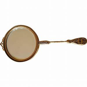 Vintage Hand Mirror w/ Gold Ormolu filigree Beveled Mirror ...