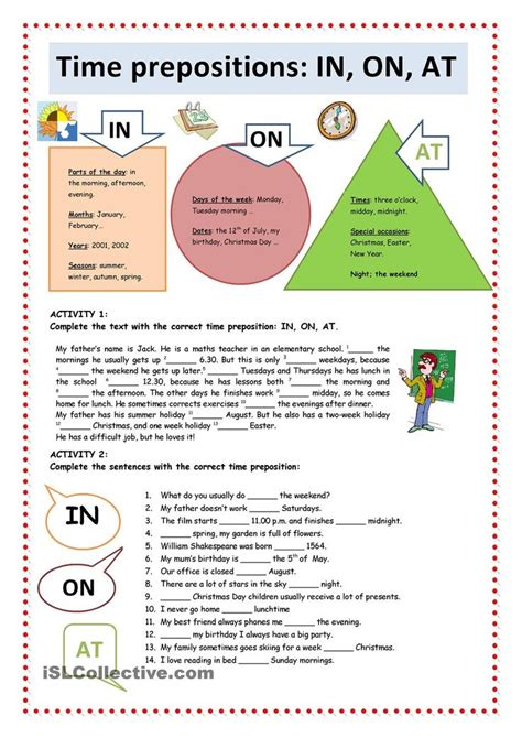 worksheets prepositions in on time prepositions in on at esl