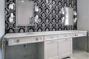 Damask tile for bathroom contemporary bathroom for Kitchen cabinets lowes with damask decals wall art