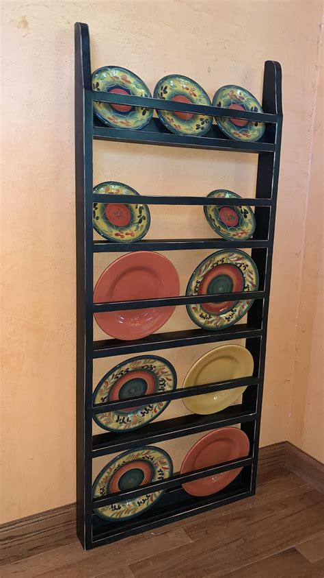 farmhouse plate rack wall hanging country rustic plate rack etsy plate rack wall rustic