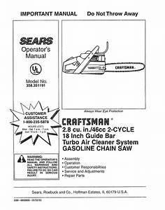 Craftsman 358 351191 Operator S Manual