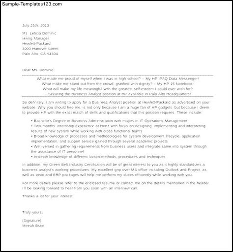 business analyst cover letter business analyst cover