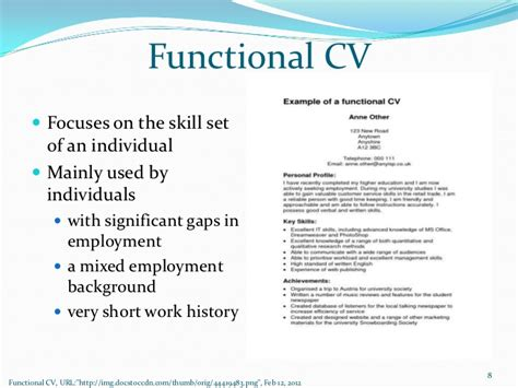 Chronological Resume Ppt by Functional Cv Focuses On
