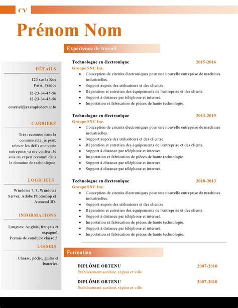 How To Cv by Mod 232 Les De Cv Word 879 224 885 Exemple De Cv Info