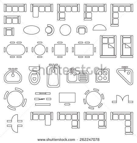 architectural drawing symbols floor plan standard furniture symbols used in architecture plans icons set graphic design elements