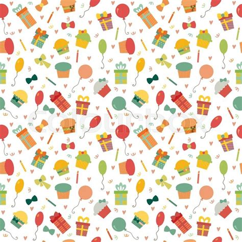 happy birthday seamless pattern with colorful