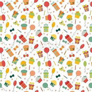 Cute Happy Birthday seamless pattern with colorful party