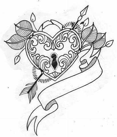 Heart Locket Tattoo Drawing Tattoos Key Drawings