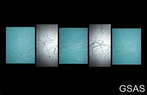 Abstract canvas painting turquoise silver modern wall