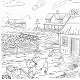 Coloring Country Farm Pages Outhouse Living Animals Printable Template sketch template
