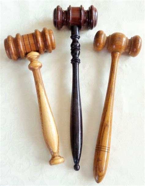 antique judges gavel lot oak mahogany wood hand tooled