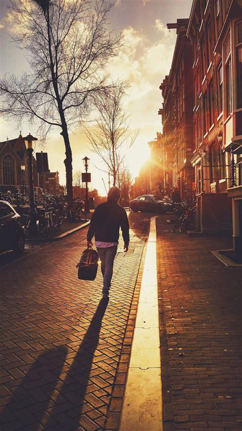picture street people city sidewalk walk sunset