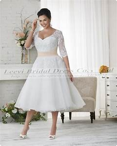 Vestidos de noiva plus size ball gown wedding dress for Plus size lace tea length wedding dresses